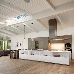Inspiration for a large 1950s galley medium tone wood floor and beige floor open concept kitchen remodel in Santa Barbara with flat-panel cabinets, gray cabinets, white backsplash, an island and stainless steel appliances