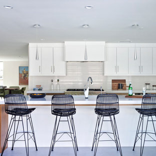 Midcentury Modern Open Concept Kitchen Ideas   1950s L Shaped Gray Floor  Open Concept Kitchen