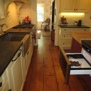 Antique White Cabinets with Barn Red Island - Long Valley, NJ