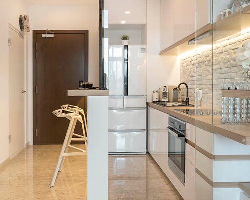 Inspiration For A Small Contemporary Separate Kitchen In Singapore With  White Splashback, Stone Tile Splashback