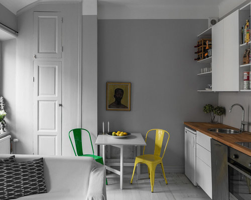 small scandinavian open concept kitchen ideas inspiration for a small scandinavian single wall painted - Small Kitchen Table Ideas