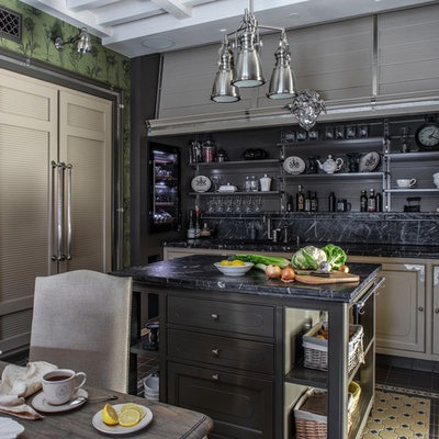 Inspiration for a timeless single-wall multicolored floor eat-in kitchen remodel in Moscow with recessed-panel cabinets, black backsplash, black appliances, an island and black countertops