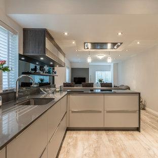 チェシャーの中サイズのコンテンポラリースタイルのおしゃれなキッチン (一体型シンク、フラットパネル扉のキャビネット、グレーのキャビネット、珪岩カウンター、グレーのキッチンパネル、ガラス板のキッチンパネル、黒い調理設備、クッションフロア、グレーの床) の写真