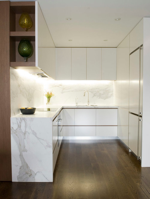 Small Modern Kitchen Designs Small Minimalist U Shaped Kitchen Photo In Sydney With White