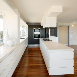 Inspiration for a mid-sized modern galley kitchen in Sydney with flat-panel cabinets, white cabinets, an island, a double-bowl sink and stainless steel appliances.