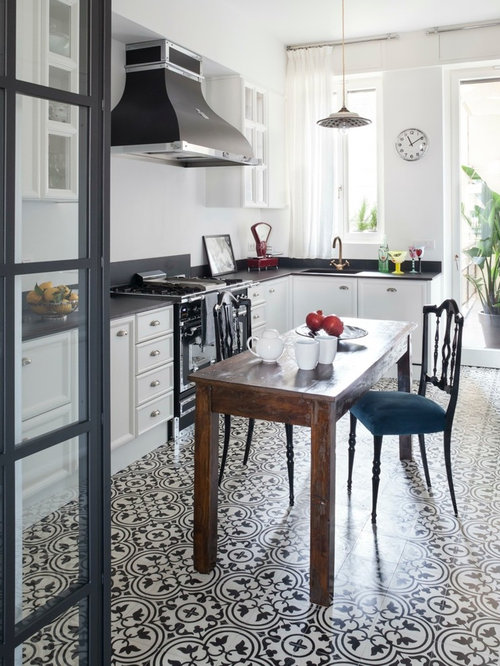 Black And White Tile Kitchen Ideas Part - 31: Mid-sized Farmhouse Eat-in Kitchen Designs - Inspiration For A Mid-sized