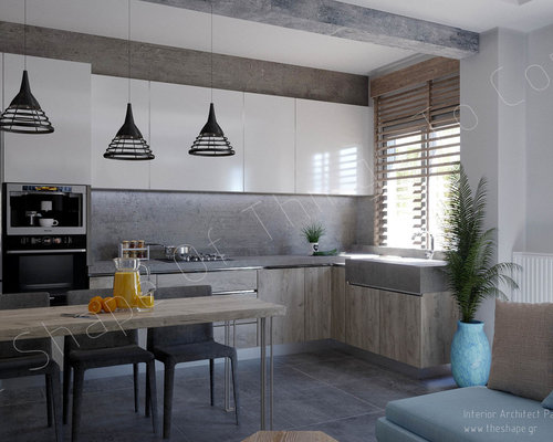 design ideas for a large industrial eat in kitchen in other with a single - Kitchen Design Greece