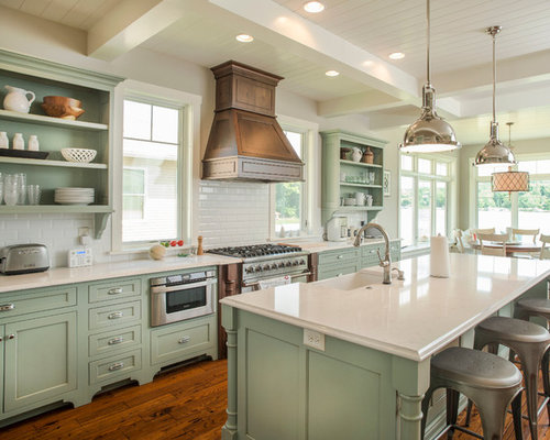 Beach Style Kitchen Design Ideas Renovations Photos With Green Cabinets