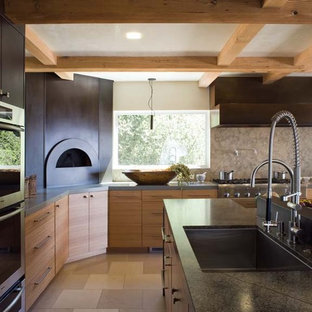 Inspiration for a contemporary kitchen remodel in San Francisco with medium tone wood cabinets