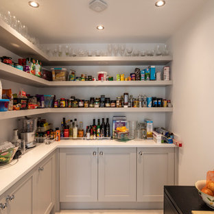 Medium sized classic l-shaped kitchen pantry in Cheshire with shaker cabinets, grey cabinets, quartz worktops, grey floors and white worktops.
