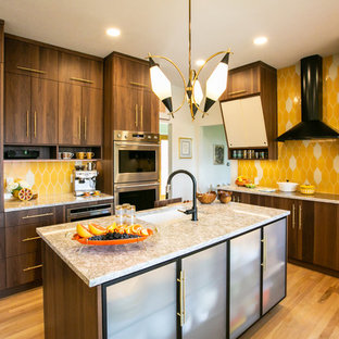 Mid-sized contemporary eat-in kitchen remodeling - Inspiration for a mid-sized contemporary l-shaped light wood floor and brown floor eat-in kitchen remodel in Denver with an undermount sink, flat-panel cabinets, medium tone wood cabinets, quartz countertops, yellow backsplash, ceramic backsplash, stainless steel appliances, an island and multicolored countertops