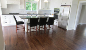 "Aquebogue new construction - 3 1/4"" Red Oak installed / stained Special Walnut"