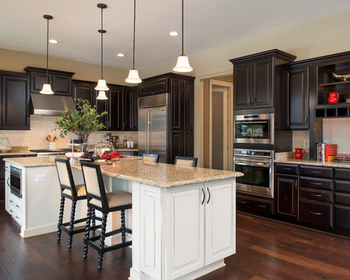 Dark cabinets white island houzz - White kitchen with dark island ...