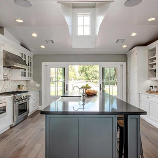 Mid-sized transitional eat-in kitchen remodeling - Inspiration for a mid-sized transitional galley light wood floor eat-in kitchen remodel in Phoenix with a farmhouse sink, white cabinets, quartz countertops, multicolored backsplash, porcelain backsplash, stainless steel appliances, an island and beaded inset cabinets