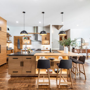 Scandinavian eat-in kitchen photos - Inspiration for a scandinavian dark wood floor and brown floor eat-in kitchen remodel in Dallas with light wood cabinets, white backsplash, an island, black countertops, flat-panel cabinets and paneled appliances