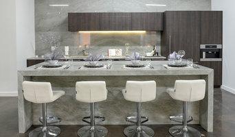 Aria Stone Gallery Kitchen - Zuri Furniture's Lattice Barstools