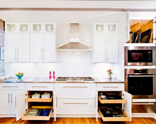 mid sized transitional single wall eat in kitchen photo in chicago with shaker