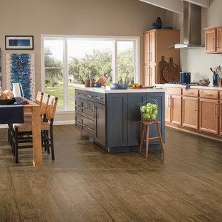 75 Most Popular Vinyl Floor Kitchen With Light Wood Cabinets Design