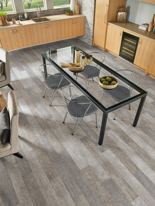 mid sized transitional eat in kitchen designs mid sized transitional l - Wood Tile Floors In Kitchen
