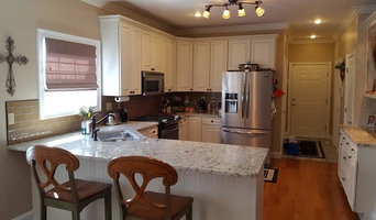 Arnold White Painted Kitchen Cabinets with Pinstripe