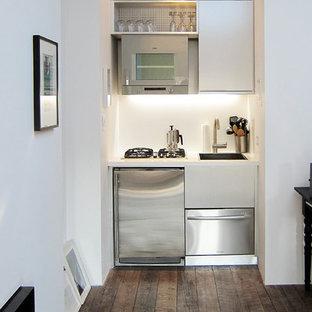 Diseño de cocina lineal, contemporánea, pequeña