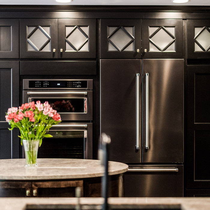 This stunning Art Deco Kitchen was a labor of love and vision for our creative homeowners who were ready to update their kitchen of 30+ years. By removing the peninsula island and creating space for a