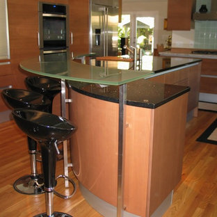 Photo of a mid-sized modern u-shaped eat-in kitchen in San Diego with a double-bowl sink, flat-panel cabinets, medium wood cabinets, recycled glass benchtops, multi-coloured splashback, mosaic tile splashback, panelled appliances, medium hardwood floors and with island.