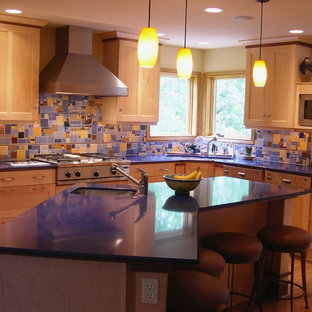 Eclectic Kitchen Photo In Portland With Stainless Steel Liances Shaker Cabinets Medium Tone Wood