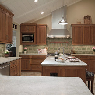 Large craftsman kitchen pantry designs - Large arts and crafts u-shaped porcelain tile and beige floor kitchen pantry photo in Sacramento with an undermount sink, shaker cabinets, medium tone wood cabinets, quartz countertops, green backsplash, ceramic backsplash, stainless steel appliances, an island and white countertops