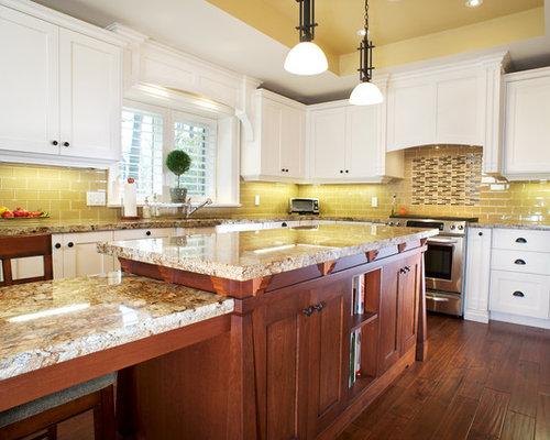backsplash for yellow kitchen. yellow backsplash and green kitchen
