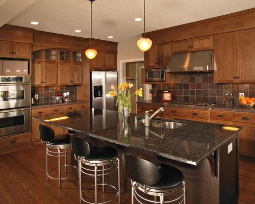 Oak Cabinet Granite Countertop | Houzz