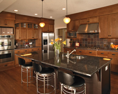 Oak Kitchen Cabinets With Granite Countertops : Oak cabinet granite countertop houzz