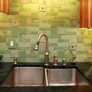 Arts and Crafts Kitchen with Medieval Floral Tiles