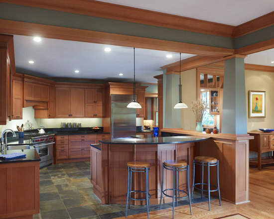 cherry cabinets with slate floors | houzz