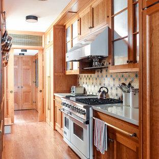 ニューヨークのおしゃれなII型キッチン (落し込みパネル扉のキャビネット、中間色木目調キャビネット、マルチカラーのキッチンパネル、シルバーの調理設備の、無垢フローリング、アイランドなし) の写真