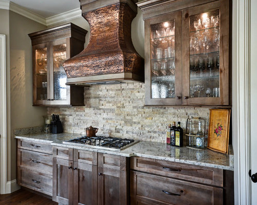 French Country Open Concept Kitchen With Stone Slab Backsplash Design