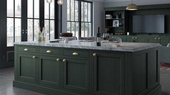 Ash In-frame Shaker style Kitchen Island Painted Forest Green