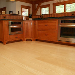 Ash Wide Plank Floors - Select Grade Sapwood Only - Acadia, New Hampshire - Made from sapwood planks, this Select grade Ash wood floor is very light in color.  Ash is a strong and durable wood (that's why it's often used for tool handles), making it ideal for high traffic rooms like kitchens.   Floor shown was finished with Vermont Natural Coatings polywhey floor finish, satin sheen. Solid Ash wide plank flooring is available mill-direct from Hull Forest Products.