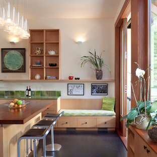 Inspiration for a modern kitchen in San Francisco with wood worktops and green splashback.
