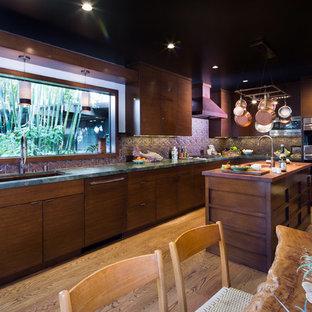 ロサンゼルスの中くらいのアジアンスタイルのおしゃれなキッチン (アンダーカウンターシンク、フラットパネル扉のキャビネット、中間色木目調キャビネット、珪岩カウンター、茶色いキッチンパネル、セラミックタイルのキッチンパネル、パネルと同色の調理設備、無垢フローリング) の写真
