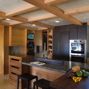 Eat-in kitchen - huge contemporary limestone floor eat-in kitchen idea in San Francisco with an undermount sink, flat-panel cabinets, light wood cabinets, granite countertops, multicolored backsplash, stainless steel appliances and two islands