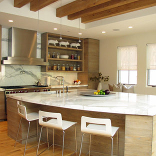 Design ideas for a contemporary kitchen in Chicago with a submerged sink, flat-panel cabinets, light wood cabinets, white splashback, stone slab splashback, stainless steel appliances, marble worktops, medium hardwood flooring and an island.