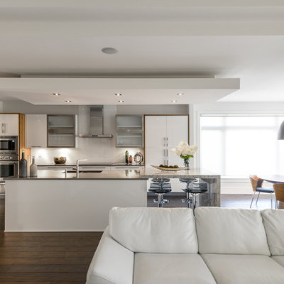 Inspiration for a contemporary galley eat-in kitchen remodel in Ottawa with flat-panel cabinets, white cabinets, white backsplash, stainless steel appliances and glass sheet backsplash