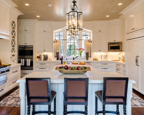 Large Traditional Eat In Kitchen Photos   Large Elegant U Shaped Dark Wood  Floor Part 59