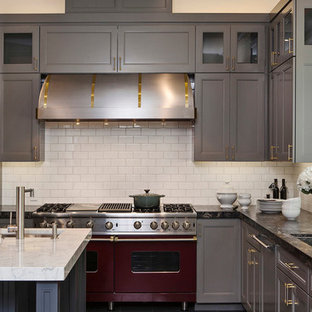Trendy kitchen photo in San Francisco with colored appliances, subway tile backsplash, granite countertops, gray cabinets, white backsplash and recessed-panel cabinets