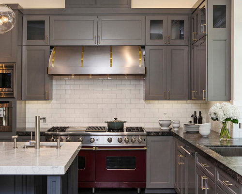 ... , gray cabinets, white backsplash and recessed-panel cabinets