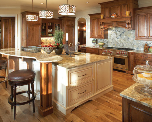 Stained Cabinets Painted Island Home Design Ideas