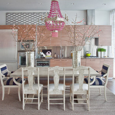 Eat-in kitchen - contemporary single-wall eat-in kitchen idea in Atlanta with flat-panel cabinets, metallic backsplash, metal backsplash, stainless steel appliances and light wood cabinets