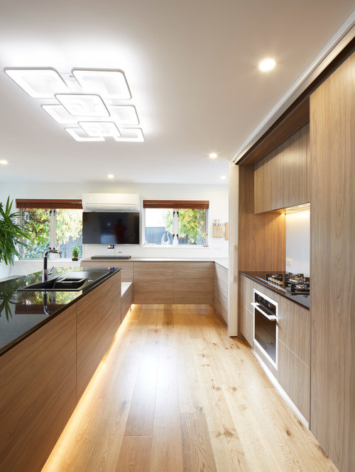 Kitchen design ideas renovations photos with glass for All plywood kitchen cabinets