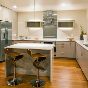 Inspiration for a contemporary u-shaped separate kitchen in Seattle with a double-bowl sink, flat-panel cabinets, beige cabinets, metallic splashback, metal splashback, stainless steel appliances, medium hardwood floors and with island.